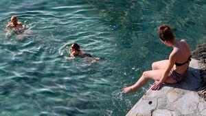 Şubat ayında Antalyada deniz keyfi