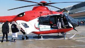 Felç geçiren hasta, ambulans helikopterle hastaneye kaldırıldı