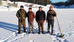 Sakarya'da 1200 rakımlı yayladaki gölet dondu