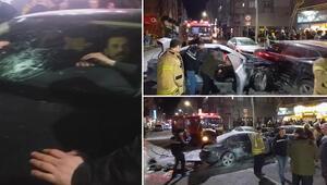 Son dakika: İstanbul Sultangazide ilginç kaza Arabalara çarptı, inmedi, yangın çıktı Ortalık savaş alanına döndü