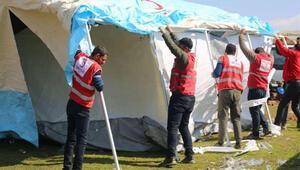 Suriyeli aileler için çadır kuruldu