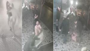 Fatihte kadına şiddet uygulayan adama dayak kamerada