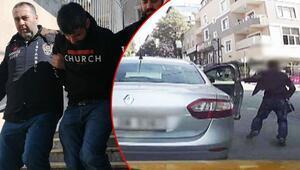 Araç sahibi inince ön koltuktaki çantayı saniyeler içinde böyle çaldı