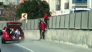 Sultangazide trafikte tehlikeli yolculuk