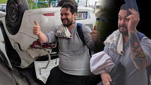 İzmirde aracıyla takla attı, hareketleriyle şaşkına çevirdi