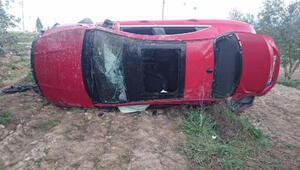 Otomobil zeytin bahçesine uçtu: 2 ölü