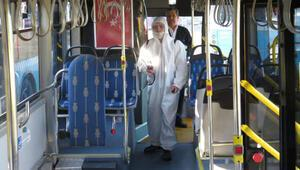 İstanbulda toplu taşıma araçları dezenfekte ediliyor