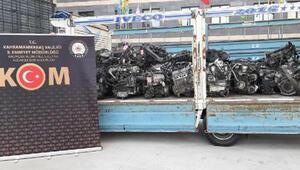 Kahramanmaraşta kaçak lüks otomobil motorları ele geçirildi