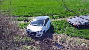 Malkarada takla atan otomobilde 3 kişi yaralandı