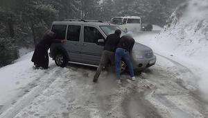 Kazdağlarında kar yağışı Mahsur kaldılar