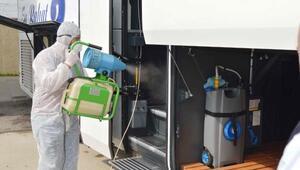 Adıyaman'da yolcu otobüsleri koronavirüse karşı ilaçlandı