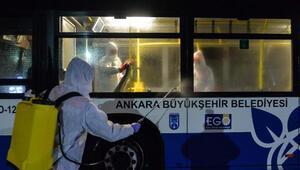 Umreden dönenlerin taşındığı otobüsler dezenfekte edildi