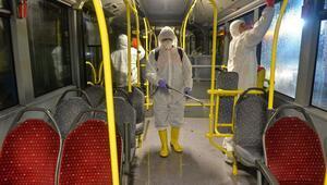 Karantina servisi yapan otobüsler dezenfekte edildi