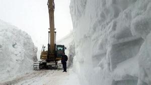 Kar kalınlığının 11 metreyi bulduğu yolda çalışma