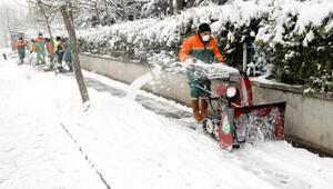 Çankayada karla mücadele
