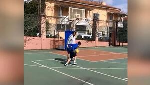 İdmanı iptal etti, oğluyla basketbol oynadı Ergin Ataman...