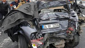 Silivride otomobilin TIRa çarpmasıyla 1 kişi yaralandı