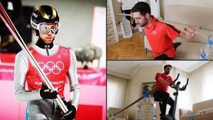 Evde, sehpa ve su bidonları ile kış olimpiyatlarına hazırlanıyor