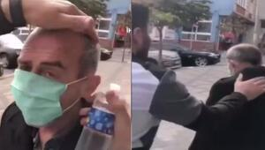 Bir utanç videosu daha Yaşlı adamı zorla durdurup, başına kolonya döktüler