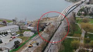 İstanbulda tramvay inşaat hattının temelinde kayma