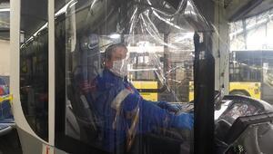 İETT otobüslerinde Corona Virüs önlemi Şeffaf brandalı kabin