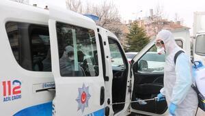 Nevşehirde polis araçları dezenfekte edildi