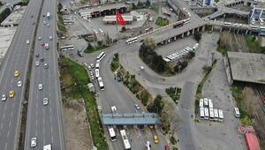 Otogarda son dakika yoğunluğu havadan fotoğraflandı