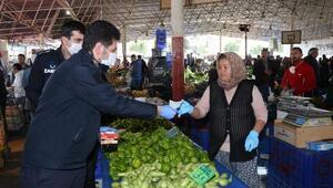 Kepezin pazarlarında koronavirüs önlemleri