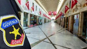 Koronavirüs nedeniyle kapalı olan tarihi çarşıda güvenlik önlemleri artırıldı