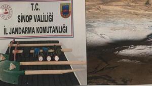 Sinopta izinsiz kazı operasyonunda 5 kişiye suçüstü