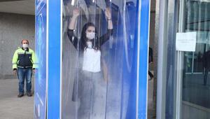 Belediye girişine dezenfeksiyon kabini