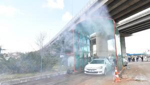 Tünelde araç dezenfeksiyonu