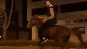 Tramvay yolunda atla yolculuk yapan kişi: At beni kaçırdı