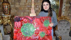 Liseli Dilara, koronavirüsün resmini çizdi