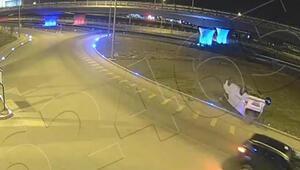Minibüsün takla attığı kaza mobese kamerasında