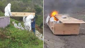 Şaşırtan görüntüler Cenazeden sonra tabutu yaktılar