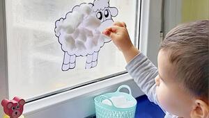 Sıkılan çocuklar için etkinlik fikri: Pamuktan kuzucuk yapımı