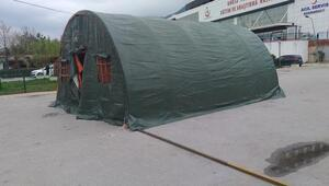 Bursada hastane bahçelerine triaj çadırları kuruldu