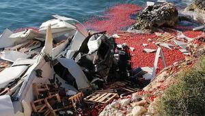 Feci kaza... Şoför hayatını kaybetti, domatesler denize saçıldı