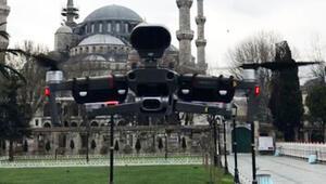 İstanbulda ilginç uygulama Polis drone ile Corona Virüsü uyarısı yapıyor