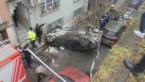 Bayrampaşada makas iddiası: Bariyeri parçalayıp 5 metre yükseklikten uçtu