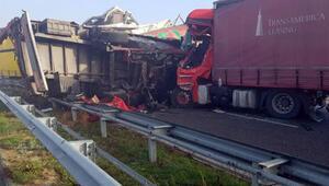Bulgaristanda TIR kuyruğunda zincirleme kaza