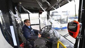 Başkentte otobüs şoförlerine koronavirüs önlemi