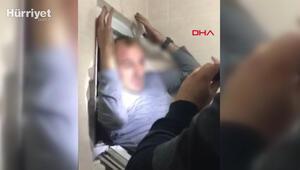 Cinayet şüphelisi tuvalet penceresinden kaçmaya çalışırken böyle yakalandı