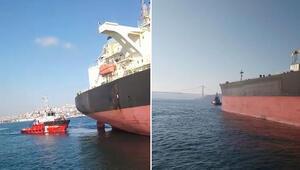 İstanbul Boğazı'nda tehlikeli anlar… Dev tanker arıza yaptı…