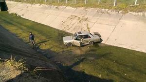 Bozdoğan'da otomobil kanala uçtu; 2 yaralı