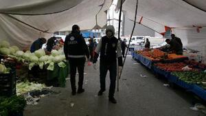 Çekmeköy semt pazarında koronavirüs denetimi