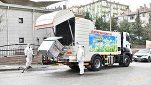 Mamakta çöp konteynerlerine özel ilaçlı dezenfekte