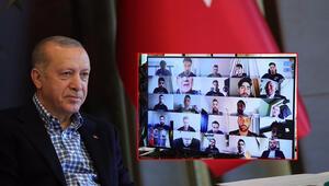 Cumhurbaşkanı Recep Tayyip Erdoğan, A Milli Futbol Takımı ile video konferans görüşmesi yaptı