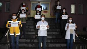 Beytüşşebapta polis ve sağlıkçılardan istiklal marşı